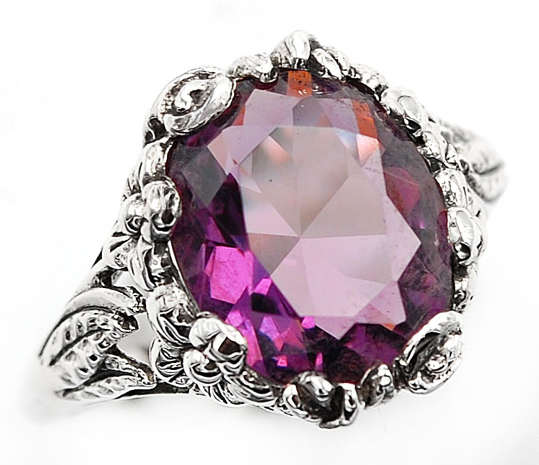 2CT Ruby 925 Solid Sterling Silver Nouveau Style Ring Jewelry Sz 8 PR44