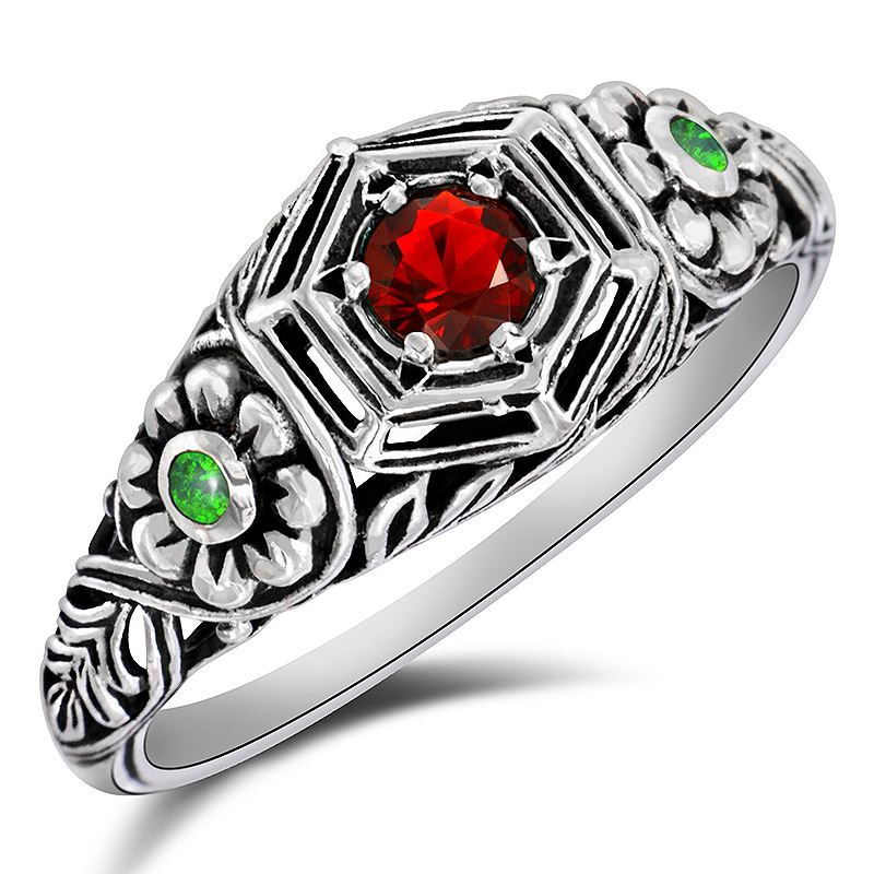 1CT Ruby 925 Solid Sterling Silver Vintage Style Ring Jewelry Sz 6 PR37