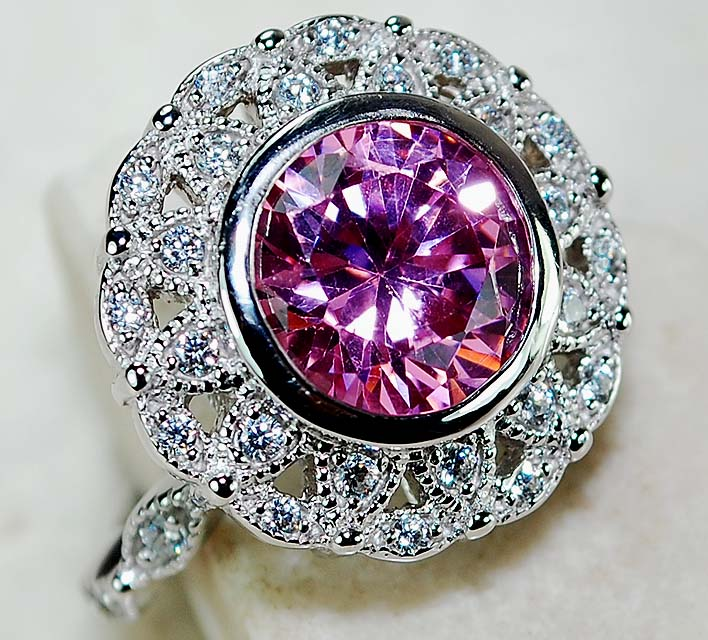4ct Rosa Sapphire Amp Wei 223 Topas 925 Solid Sterling Silver