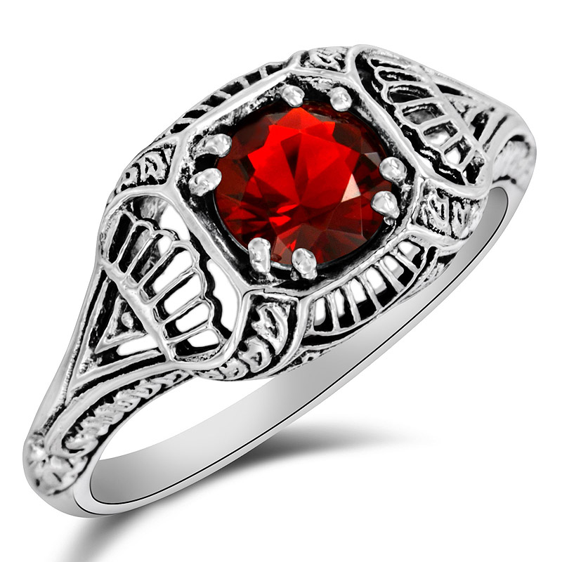 2CT Ruby 925 Solid Sterling Silver Art Deco Style Ring Jewelry Sz 8 PR40